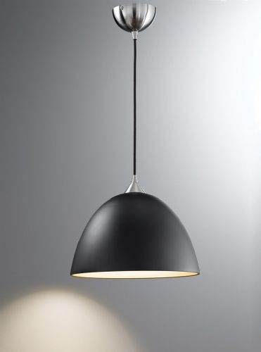 Franklite FL2290/1/931 Satin Nickel & Black Glass with Gold Interior Pendant Light